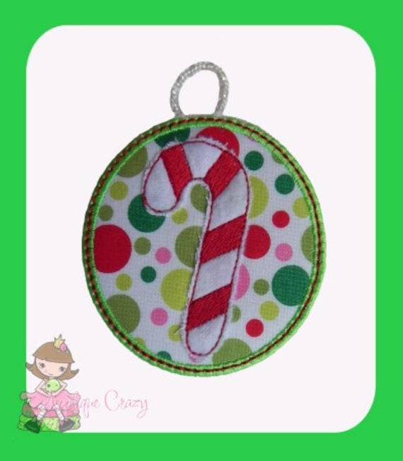 In The Hoop Candy Cane Ornament design
