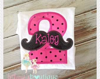 Pink and Black Mustache Birthday Shirt- Embroidered applique shirt- Sparkle Vinyl