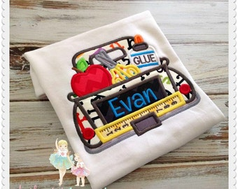 Back to school truck shirt - truck with school supplies - school days shirt - apple truck shirt - boys embroidered first day of school shirt