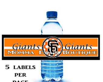 Momma Eva's -- INSTANT DOWNLOAD / Team Inspired Printable Water Bottle Wrappers / Giants Party // Birthday Parties  / DIY // Print At Home