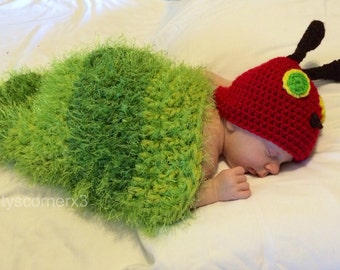 Caterpillar Snug as a Bug Beanie and Cocoon Set - Photography Prop - Crochet Hat - Crochet  Cocoon