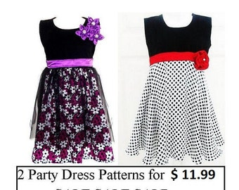 Sewing Pattern Girls Dress-  2  Party Dress Patterns in my Shop for 11.99, Toddler, Girls Dress Pattern, Pdf Sewing Pattern