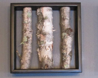 Birch Log Wall Hanging - Black and White,  Open Art, Rustic Art, Doppler, EfectUrban Rustic, Birch Logs, Birch Sticks