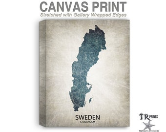 Sweden Map Stretched Canvas Print - Home Is Where The Heart Is Love Map - Original Personalized Map Print on Canvas