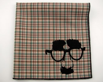 Hankie- In DISGUISE shown on super soft Tan/Green plaid cotton hanky-or choose from white or any solid colors or plaids shown in pics