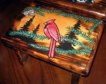 Hand painted step stool- cardinal