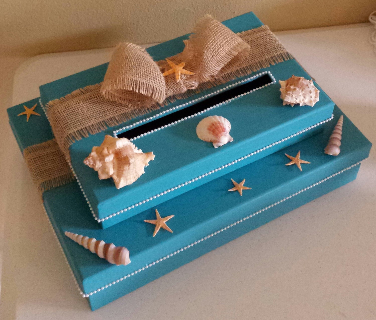 Beach Theme Home Decor Shadow Box Beach Gift: Beach Themed Two Tier Money Card Gift Box Perfect For A