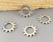 Wheel Gear Charms -50pcs Antique Silver Mechanical Gear Charm Pendants 12mm AB105-1