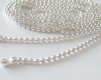 Ball Chains -10pcs Silver Plated 2.0mm Ball Chain Necklace with Connector 70cm