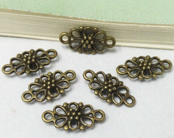 Connector Charms -50pcs Antique Bronze Flower Necklace Connector Charm Pendants 8x16mm D302-6
