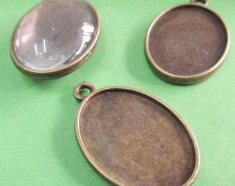 Cabochon Base -15pcs Antique Bronze Oval Double Side Bezel Pendants 18x25mm C407-6