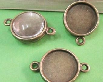 Cabochon Base Settings -20pcs Antique Bronze Double Sided Bezel Tray Charm Pendants 12mm F208-3