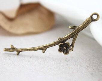 Tree Branch Charms -20pcs Antique Bronze Flower Branch Charm Pendants 14x45mm E307-2