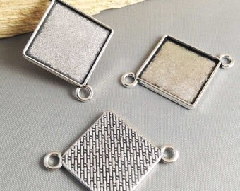 Cabochon Base Settings -15pcs Antique Silver Square Cameo Setting Charm Pendant Connector 20x20mm AB205-5