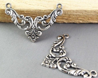 Connector Charms -15pcs Antique Silver Flower Necklace Connector Charm Pendants 28x38mm AB303-3