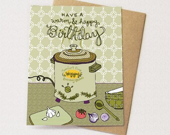 Crockpot Birthday Card - blank inside