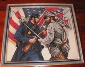 Framed Civil War cross stitch