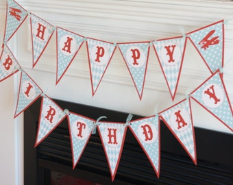 Happy Birthday Pennant Flag Blue Red Vintage Airplane Theme Banner - Ask About Our Party Pack Specials - Free Ship Over 65.00