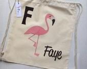 Children's Personalised Cotton Drawstring Bag. School / Pre-school / PE Kit