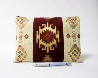 Ethnic Tribal Style Handbag - Makeup Bag - iPad Cover - Large Pouch with Kilim Pattern - Boho clutch - Maroon , Cream