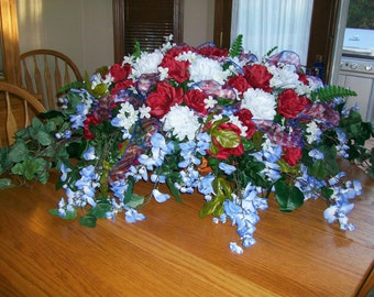 Red White & Blue Patriotic Floral Spray