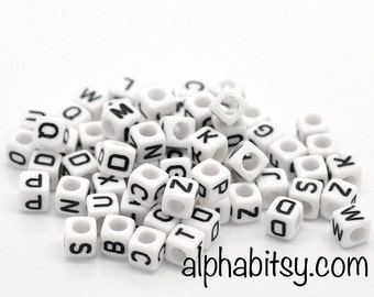 White Cube Alphabet Beads, acrylic 6mm, 500 letter pcs