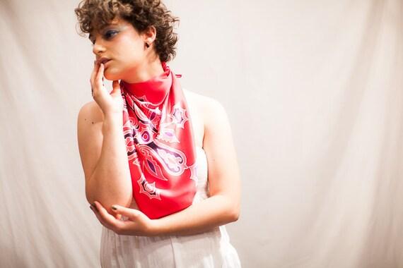 Hand painted silk scarf hot pink neckerchief. Square small hair kerchief, Head scarf band, Silk Head Scarf, Headscarves, tribal butterflies
