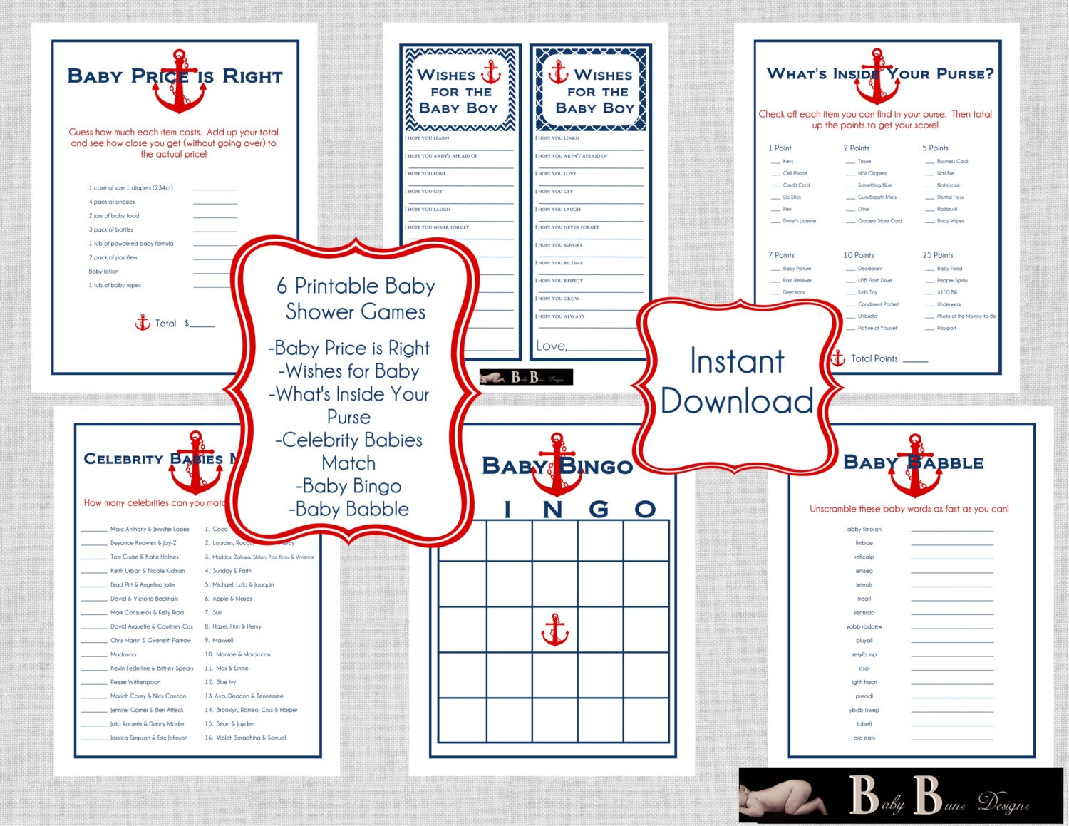nautical baby shower games pack navy red6 different