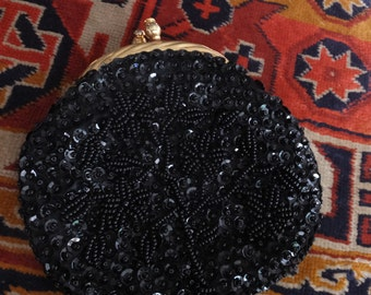 Vintage Black Beaded Clutch with Goldtone clasp