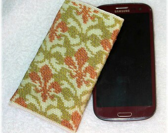Seed bead crocheted phone case Galaxy S3/S4/S5 bag pouch green and brown vintage royal lily pattern