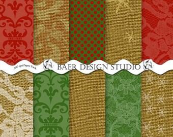 DIGITAL PAPER CHRISTMAS:Rustic Chrismas Paper, Burlap and Lace Digital Paper, Red Digital Paper, Snowflake Digital Paper, Lace Digital Paper
