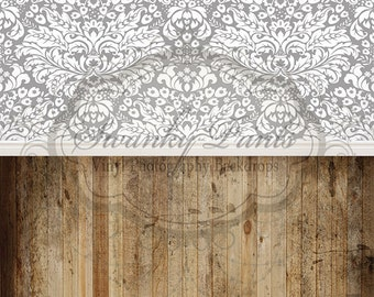 """NEW All In One 42"""" x 87""""  Vinyl Photography Backdrop / White Gray Damask and Old Grungy Wood"""