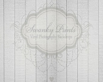 7ft x 5ft Vinyl Photography Backdrop  / White Gray Wood / Verticle