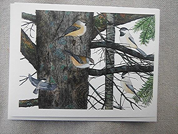 Bird note card watercolor chickadees boreal chickadees greeting card