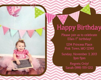 Pink Chevron Birthday Invitation Template