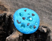 Blue Chocolate Chip polymer clay, crystal cookie charm.