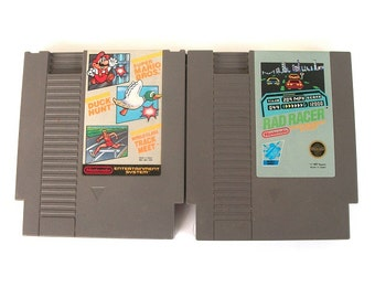Vintage Original Nintendo Game Set of Two Movie Games- Super Mario Bros. Duck Hunt World Class Track Meet - Rad Racer