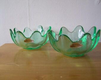 Blenko Green Glass Petal Bowl Floriform Wayne Husted