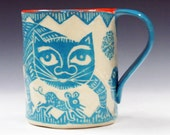 Art Pottery MUG SGRAFFITO, Sly Cat Worried Bird Gotta-Scram Mouse, Turquoise Ceramic, Personalize Color,Coffee Tea Cup Mug,Mexican Folk Art