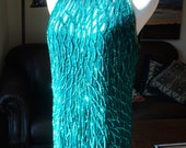 WHOOODAT at MARDI GRAS, Retro Teal Silk and Sequined Evening Gown, Hand Sewn Teal Sequins on Sheer  Silk Fabric and Teal  polyester lining!
