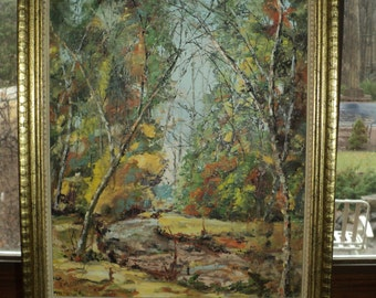 Original Oil  Painting of a Fall Landscape Scene by The Artist J. Vernusio,  Wonderful Autumn Composition with excellent texture