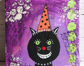 Black Cat Mixed Media Painting, Original Artwork on 5 x 5 Canvas, Home Decor, Purple, Orange and Black Wall Hanging, Perfect for Halloween