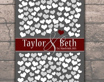 Wedding Guest Books Keepsake Poster | Burgandy Style Wedding Guest Book Alternative | Bridal Shower Gift Heart Guestbook 151 Guests 20x30_05