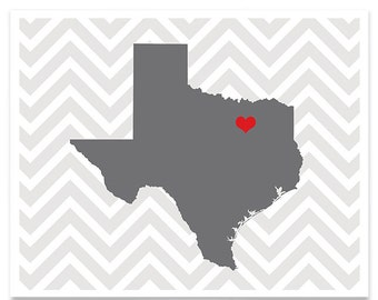 Texas State Map - Custom Personalized Heart Print - I Love TX USA - Hometown Wall Art - Gift Souvenir