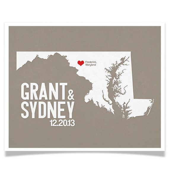 Maryland Personalized Wedding Art, State Map Print, Bride & Groom Names and Date, Any State Available, Choice of Colors