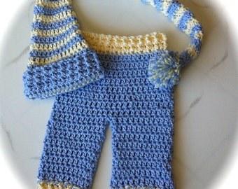 Newborn Long Tail Hat with Pants / Great Photo Prop To the Moon and Back / Crocheted Pants & Stocking Hat Set /  Yellow and Blue
