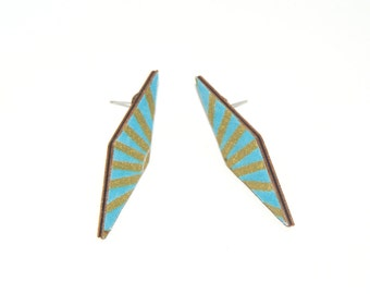 Stud Earrings - Fabric Covered Wood Earrings Blue Gold