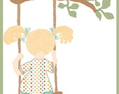 On the Swing - Little Girl - Digital Illustration - Unique Clipart
