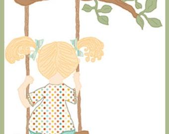 On the Swing - Little Girl - Digital Illustration - Unique Clipart
