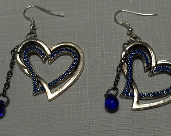 Antiqued Silver and Cobalt Blue Enamel Heart Earrings,Spring Jewelry, Bridal Party Gifts, Heart Earrings,  Hearts & Chains Earrings Sale